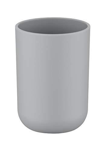 WENKO Zahnputzbecher Brasil Grau - Zahnbürstenhalter für und Zahnpasta, absolut bruchsicher, Kunststoff (TPE), 7.3 x 10.3 x 7.3 cm, Grau