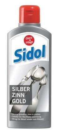 SIDOL Silber Zinn Gold 250ml Reinigt gründlich Tafelgeschirr, Besteck, Schmuckstücke, Zinnkrüge, Zinnfiguren, Chrom-Oberflächen und vieles weitere ohne zu...
