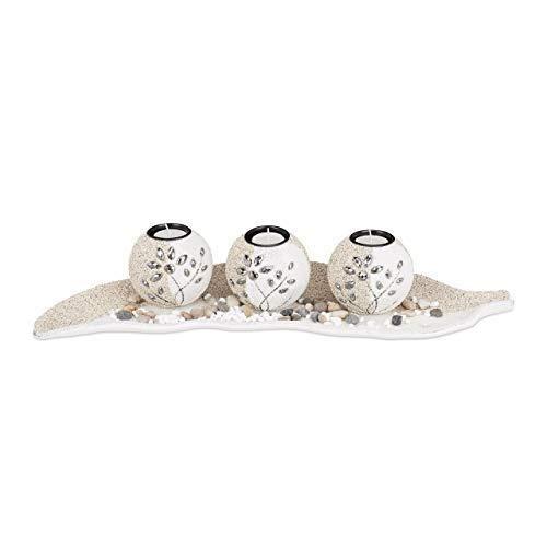 Relaxdays, beige-weiß Teelichthalter Set, Blattschale, Deko Sand, Kieselsteine, Kerzenhalter, stimmungsvolle Tischdeko, Standard