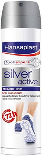 Hansaplast Silver Active Fußspray 150 ml 1er Pack, Fußspray Antitranspirant mit 72h Schutz vor Fußgeruch und Schweiß, Aktiv-Komplex mit Silber-Ionen