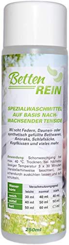 Daunenwaschmittel: Bettenrein, das sanfte Waschmittel Daunen für Daunenkissen, Daunendecken, Daunenjacken, Anoraks, Schlafsäcke und mehr | 250 ml