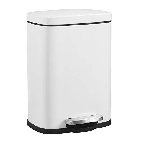 SONGMICS Mülleimer, Abfalleimer, 5 Liter, mit Pedal, rechteckig, Softclose, Außenbehälter aus Stahl, Inneneimer aus Kunststoff, weiß, 29 x 20,8 x 14,2 cm