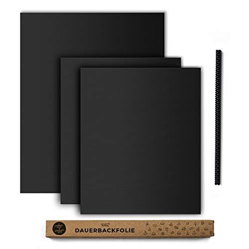 tastory® - Schwarze hochwertige Dauerbackfolie für Backofen (3er Set) 40x33cm & XXL 50x40cm & Hitzeschutzleiste - Backpapier wiederverwendbar, Backmatte...