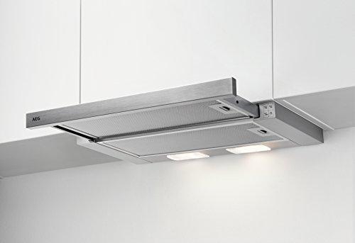 AEG DPB2621S Flachschirm-Dunstabzugshaube / Abluft oder Umluft / 60cm / Silberfarben / max. 120 m³/h / min. 68 – max. 72 dB(A) / D / Kurzhubtasten