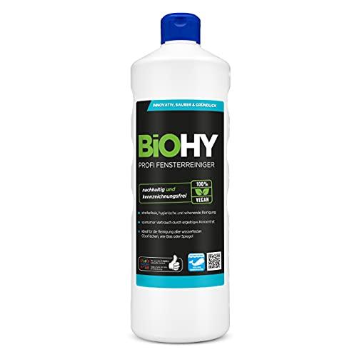 BiOHY Profi Fensterreiniger (1l Flasche) | Glasreiniger Konzentrat, ideal für alle FENSTERSAUGER | Streifenfreie Reinigung von Glas-, Fenster- &...