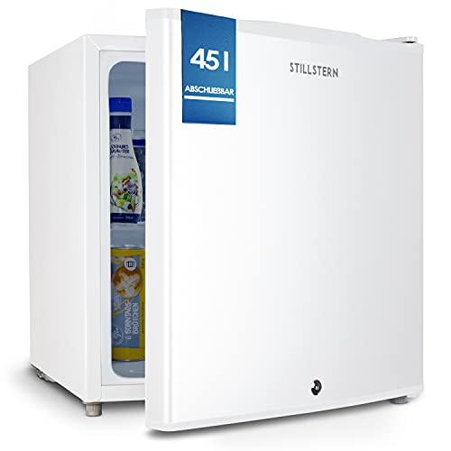 Stillstern Mini Kühlschrank E 45L mit Abtauautomatik, Schloss, Frostfach, Leise, Ideal für Küche, Büro, Schlafzimmer, Hotels und kleine Wohnungen...