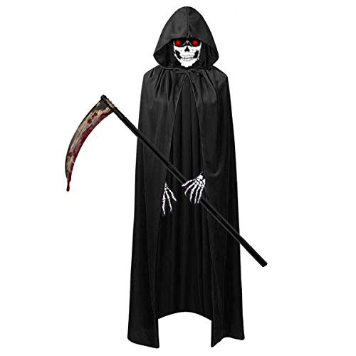 O-Kinee Halloween Kostüm Set, Enthält Sensemann Kostüm Sense Schädelmaske SchädeHandschuhe, Unisex Kostüm Sensenmann für Halloween Party Dekoration...