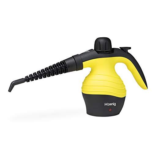 H.Koenig Handdampfreiniger NV60 / 3,5 bar / verschiedene Aufsätze / 350 ml Wassertank / 1000W / gelb