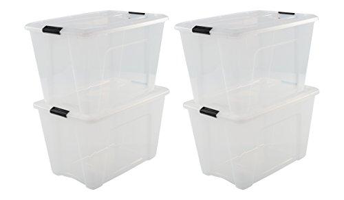 Iris Ohyama 4er-Set, Aufbewahrungsboxen, 60 L, mit Clips, stapelbar, Wohnzimmer, Schlafzimmer, Garage - New Top Box NTB-60 - Transparent
