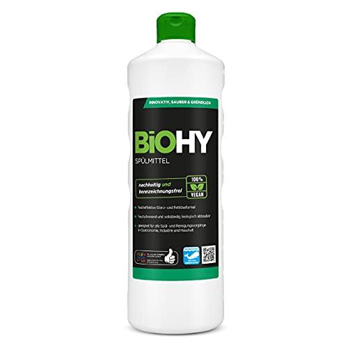 BiOHY Spülmittel (1l Flasche) | Frei von schädlichen Chemikalien & biologisch abbaubar | Glanz- & Fettlöseformel | Für Gastronomie, Industrie und Haushalt...