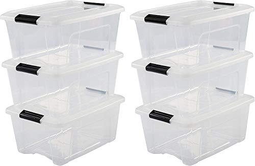 Iris Ohyama 6er-Set, Aufbewahrungsboxen, 15 L, mit Clips, stapelbar, Wohnzimmer, Schlafzimmer, Garage - New Top Box NTB-15 - Transparent
