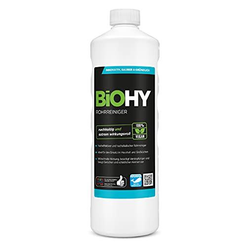 BiOHY Rohrreiniger (1l Flasche)   EXTRA STARK   Flüssiger, hochkonzentrierter Abflussreiniger   Geruchsneutral   Für alle Verstopfungen