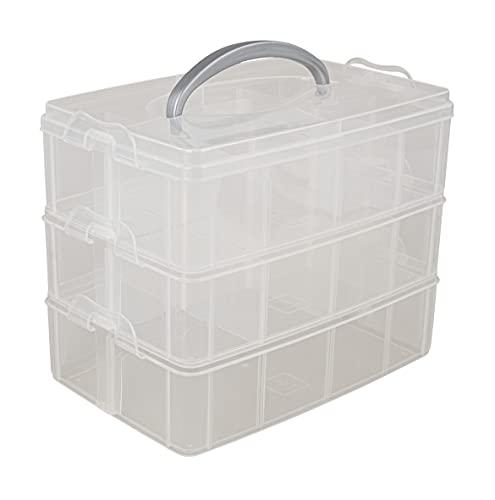 Rayher Sortierbox Aufbewahrung mit Griff, 23,1x15,6x18,5cm, 3 Etagen m. 17 Fächern, für Bastel-Material, Kabel, Spielzeug, Büro-Utensilien, Accessoires –...