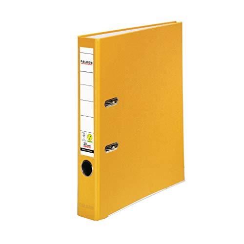 Original Falken PP-Color Kunststoff-Ordner. Made in Germany. 5 cm schmal DIN A4 gelb Ringordner Vegan Aktenordner Briefordner Büroordner Plastikordner...