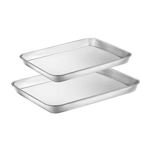 WEZVIX Backblech 2er-Set, Edelstahl Rechteckige Backform Ofenblech zum Backen Kuchenblech, Ungiftig und Gesund, Leicht zu Reinigen und Spülmaschinenfest ( 31.5...