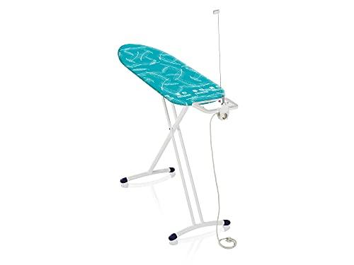 Leifheit Bügeltisch Air Board M Solid Plus ist höhenverstellbar, Bügelbrett für Dampfbügeleisen, Dampfbügeltisch mit Zwei-Seiten-Bügeleffekt