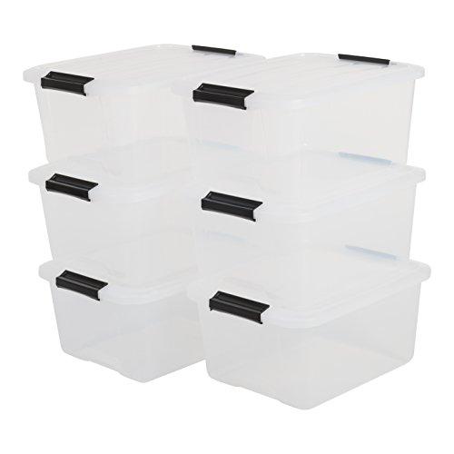 IRIS, 6er-Set stapelbare Aufbewahrungsboxen 'Top Box', mit Deckel und Klickverschluss, 15 Liter, Kunststoff / Plastik, transparent