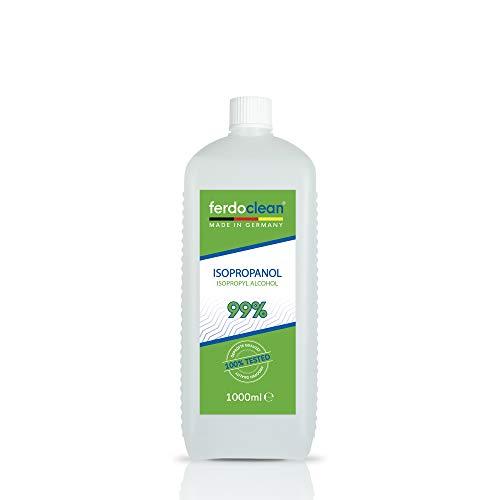 ferdoclean 1000ml Isopropanol 99,9% | Lösungsmittel 1l IPA Alkohol Reiniger für Haushalt, Küche, Auto & mehr | Fettentferner Reinigungsmittel