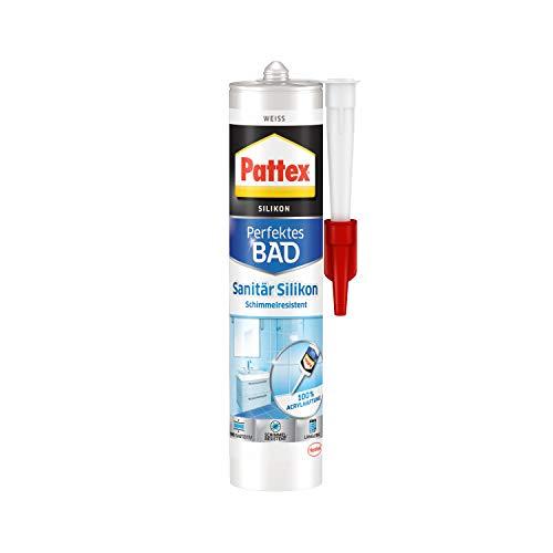 Pattex Perfektes Bad Sanitär Silikon, wasserfestes und schimmelresistentes Silikon für Bad und Küche, langlebige Dichtmasse für Fugen und Übergänge,...