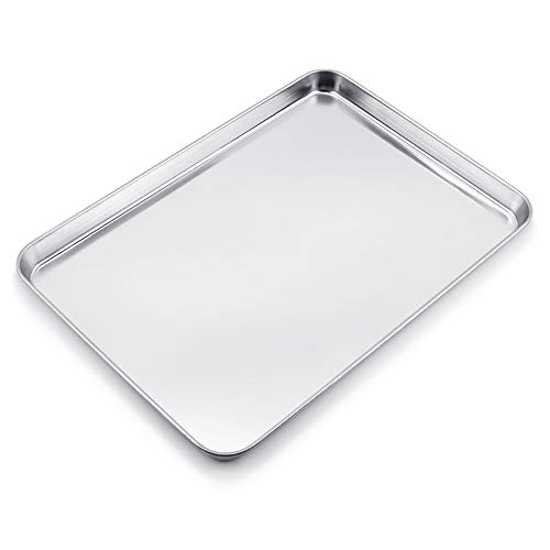WEZVIX Backblech, Edelstahl Rechteckige Backform Ofenblech zum Backen 50 x 35 x 3 cm Kuchenblech, ungiftig und gesund, rostfrei und weniger klebrig, leicht zu...