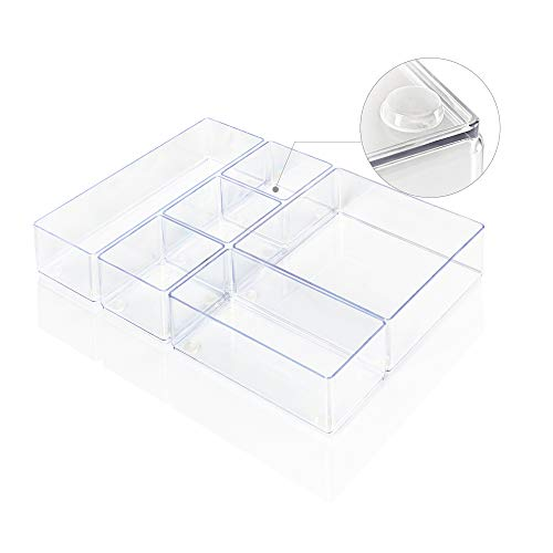 Lilly Things® ANTIRUTSCH Schubladen Ordnungssystem (6er Set, transparent) Schubladen Organizer Schubladeneinsatz Tablett Aufbewahrungsbox für Make-Up Kosmetik...