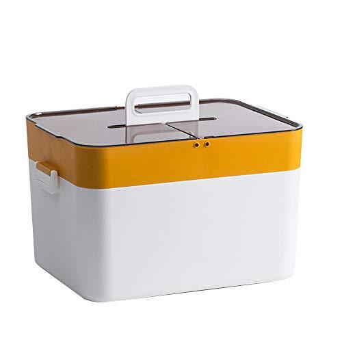 papasgix Aufbewahrungsboxen Hausapotheke Box Tragbare Aufbewahrung Großer Medizinbox Medizinkoffer doppelschichtiger Aufbewahrungskoffer für zu Hause(Gelb)