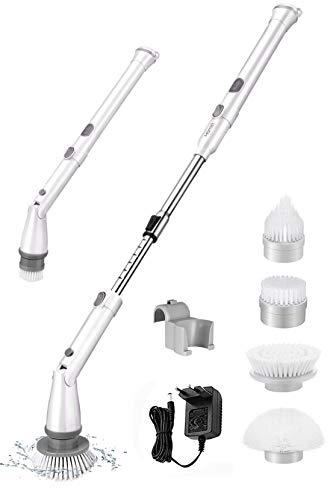 Homitt elektrische Reinigungsbürste, Spin Scrubber schnurlos, mit 4 Bürstenköpfe und Verlängerungsstange, Multifunctional Bürste Schrubben aufladbar, für...