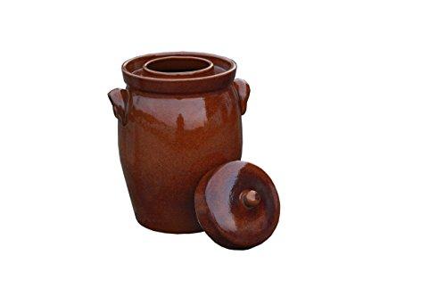Hentschke Keramik Gärtopf, Rumtopf, Sauerkrauttopf Einlegetopf braun - 10 Liter incl. Deckel + Beschwerungsstein