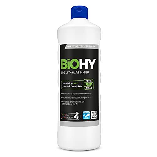 BiOHY Edelstahlreiniger (1l Flasche)   Edelstahlpflege für neuen, streifenfreien Glanz   Schutz gegen Fingerabdrücke, Schmierflecken etc.   schonend und...