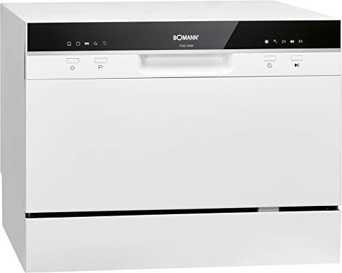 Bomann TSG 7404 Tisch-Geschirrspüler, 6 Maßgedecke, 5 Programme, LED-Kontrollanzeigen, weiß