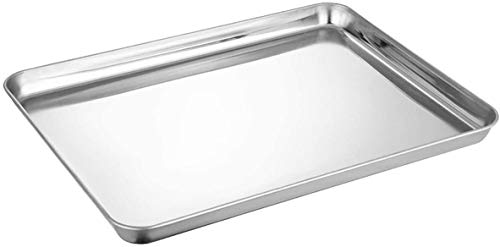 Smooce Backblech, Rechteckigies Backform Kuchenblech aus Edelstahl zum Backen Kochen Servieren, 40x30x2,5cm, ungiftig und Gesund, Hochglanzpoliert, leicht zu...