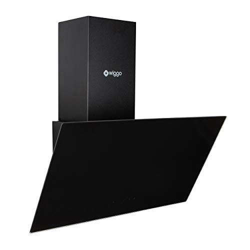 Wiggo Dunstabzugshaube 60cm kopffrei I Abluft Umluft Dunstabzug 300m³/h - LED Touch-Display 3 Stufen I Schräghaube inkl. Fettfilter & 2x Kohlefilter I...