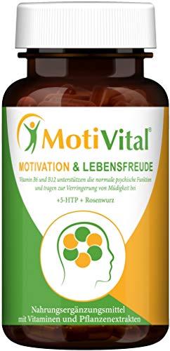 MotiVital® Motivation & Lebensfreude – Serotonin Dopamin Booster – Stimmungsaufheller 5HTP hochdosiert 200mg, Rosenwurz, L-Tyrosin, Vitamin B Komplex D3...