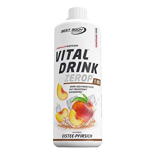 Best Body Nutrition Vital Drink ZEROP® - Eistee-Pfirsich, Original Getränkekonzentrat Sirup zuckerfrei, 1:80 ergibt 80 Liter Fertiggetränk, 1000 ml