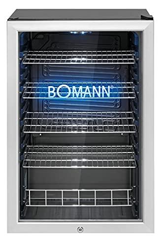 Bomann KSG 7284.1 Glastür-Kühlschrank / 115 Liter Nutzinhalt/doppelverglaste Gerätetür/LED Innenraumbeleuchtung und eingraviertes Bomann Logo mit blauer LED...