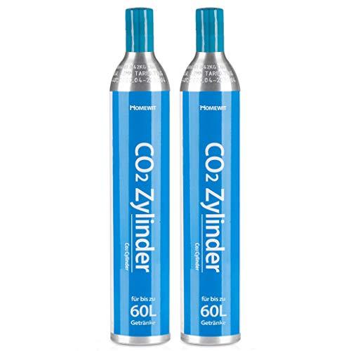 Homewit CO2 Zylinder x 2 Flaschen, Neu & Erstbefüllt in Deutschland, 425g Kohlendioxid für ca. 60 L Wasser, geeignet für SodaStream Wassersprudler (z.B....