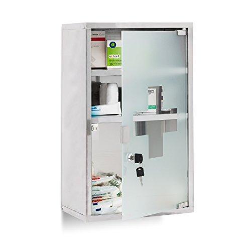 Relaxdays EMERGENCY Medizinschrank XL extra tief aus Edelstahl HxBxT: ca. 50,5 x 30 x 18 cm mit 3 Fächern und Glas-Tür zum Abschließen mit 2 Schlüsseln für...