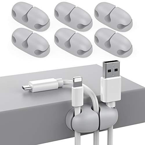 Delidigi 6 Pack Kabel Organizer Kabelclips halter Schreibtisch für USB-Kabel Draht Home Office und Auto(Grau)