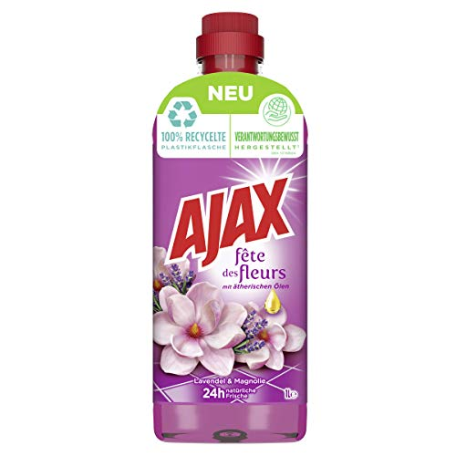 AJAX Allzweckreiniger Lavendel & Magnolie, 1000 ml - Haushaltsreiniger für müheloses Putzen, hilft bei der Reinigung von Keimen, 24h natürliche Frische