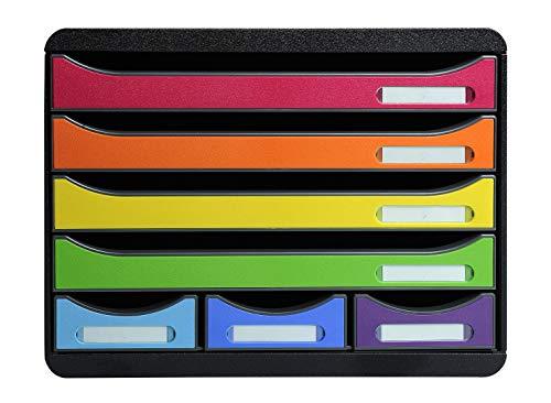 Exacompta 307798D Premium Ablagebox Querformat mit 7 Schubladen für DIN A+ Dokumente. Belastbare Schubladenbox hohe Kapazität mehr Platz Store Box Iderama...