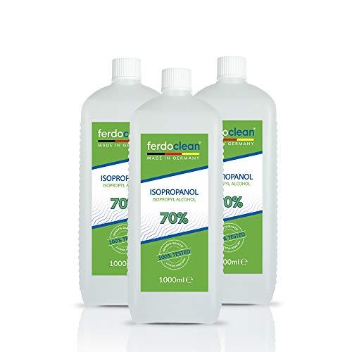 ferdoclean 3 x 1000ml Isopropanol 70% | Lösungsmittel 3L / 3000ml IPA Alkohol Reiniger für Haushalt, Küche, Auto & mehr | Fettentferner Reinigungsmittel