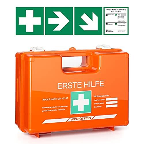 Erste Hilfe Kasten mit Inhalt nach DIN 13157 I Inkl. praktischer Wandhalterung, 4x Aufkleber & Plombe I Erste Hilfe Koffer für Betriebe, Einrichtungen &...