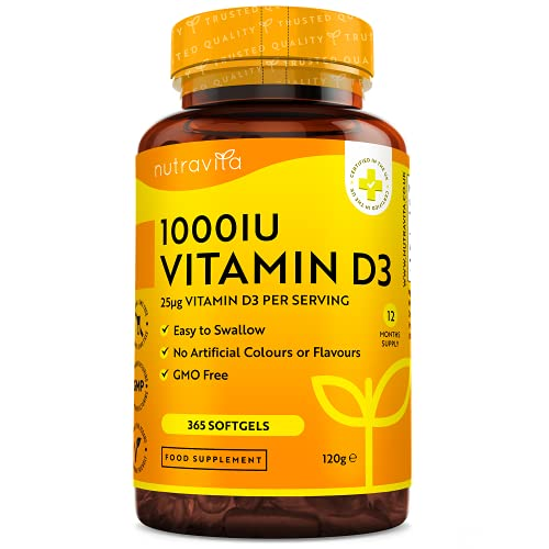 Vitamin D3 1000 I.E - 365 Kapseln - Unterstützt Knochen, Zähne, Muskeln und Immunsystem* - Vitamin D3 aus Deutschland - ohne künstlichen Zusatzstoffe - Hohe...