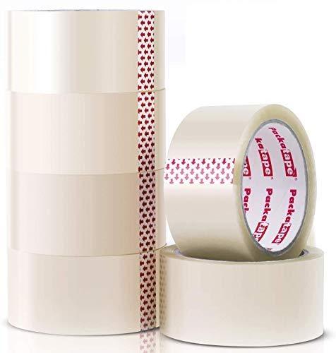 Packatape | Paketklebeband transparent | 66m lang & 48mm breit | Ideal als Klebeband, Paketband, Verpackungsmaterial & Packband | 6 Rollen