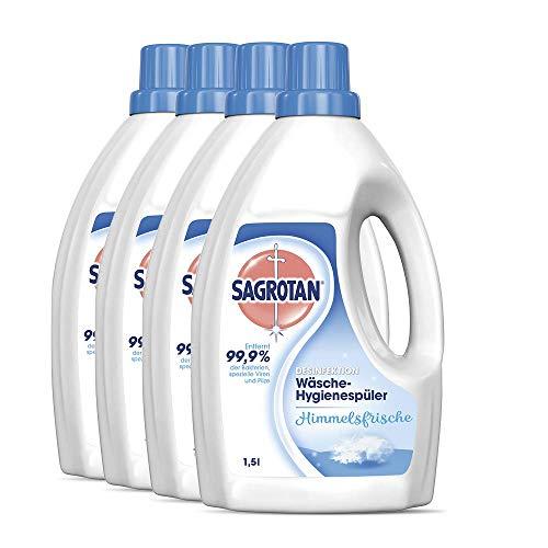 Sagrotan Wäsche-Hygienespüler Himmelsfrische – Desinfektionsspüler für hygienisch saubere und frische Wäsche – 4 x 1,5 l Reiniger im praktischen...