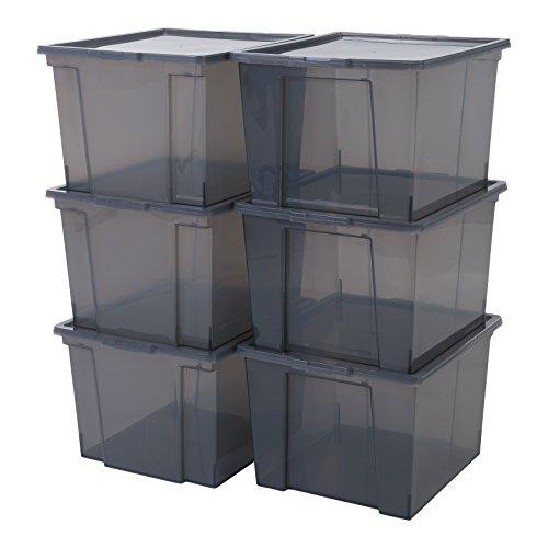 Iris Ohyama, 6er-Set stapelbare Aufbewahrungsboxen mit Deckel - Useful Storage Box USB-MP - plastik, silber, 6 x 40 L, L42 x B36 x H26,5 cm