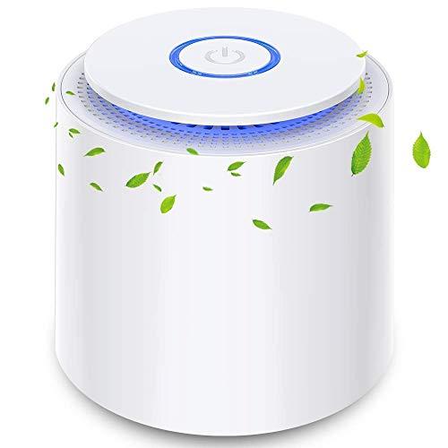 Desktop Luftreiniger mit Echtem HEPA-Doppelschichtfilter, Kein Ozon, USB Desktop-Luftfilter mit Nachtlicht und Aromatherapie-Funktion, Staub, Pollen, Rauch,...