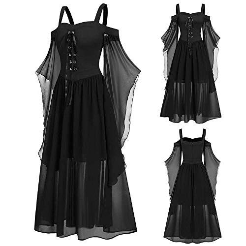 YEBIRAL Damen Übergroßes Mesh Mittelalter Kleid Gothic Maxikleid Schnürkleid mit Schmetterlingsärmeln Renaissance Cosplay Dress Party Festlich A-Linie...
