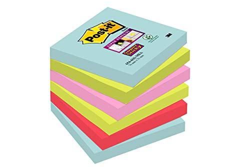 Post-it Super Sticky Notes Miami Collection 6546SMI – Selbstklebende Haftnotizzettel in 76 x 76 mm – 6 Notizblöcke quadratisch à 90 Blatt in 4 Farben,...