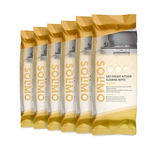 Amazon Marke -Solimo Fettlöse-Reinigungstücher - 120 Reinigungstücher, 6-er Pack: (20 x 6 Reinigungstücher)
